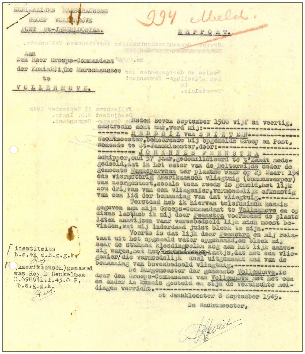Police report - finding of floating corps 'Beukelman' in lake - 07 Sep 1945