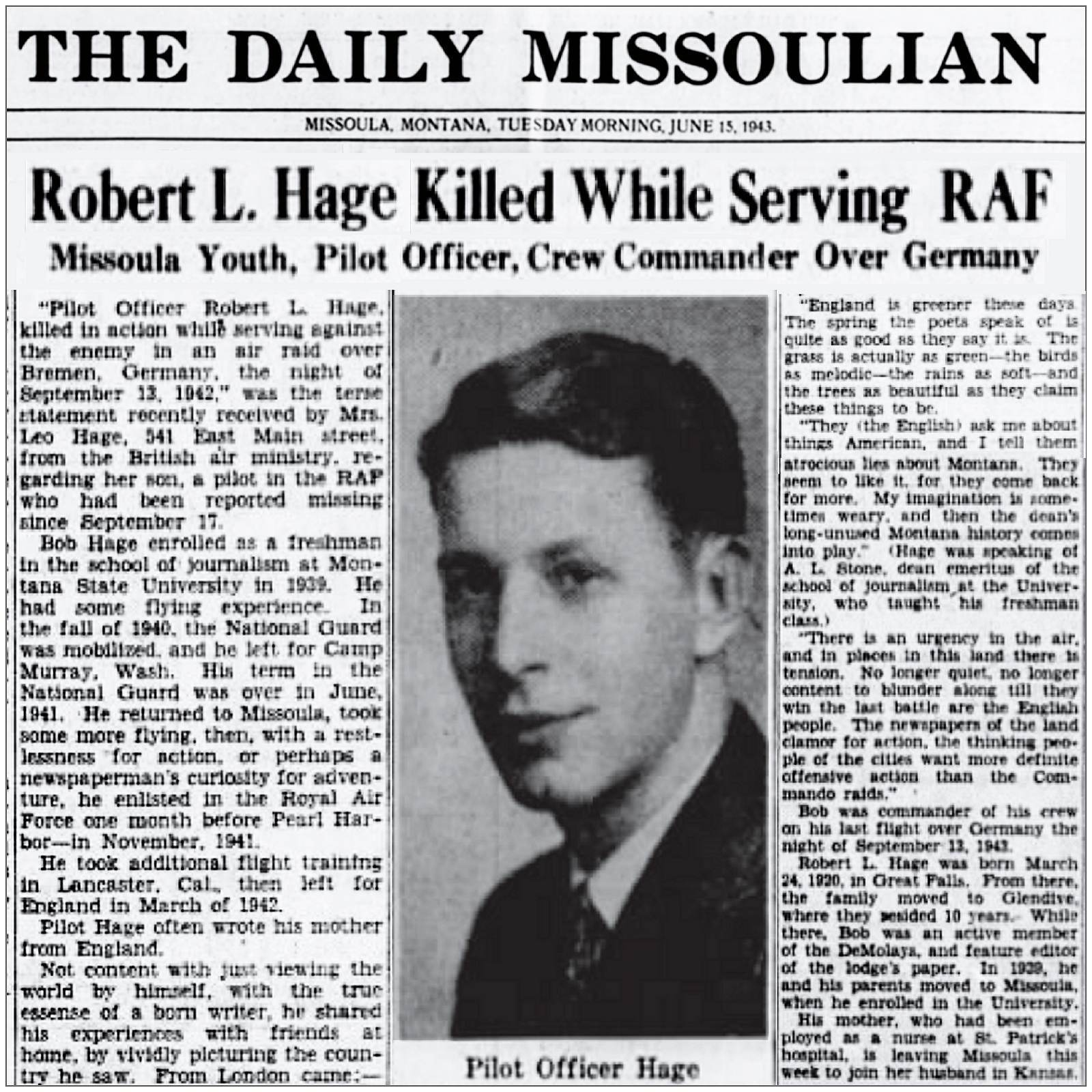 Article in The Daily Missoulian - 15 Jun 1943