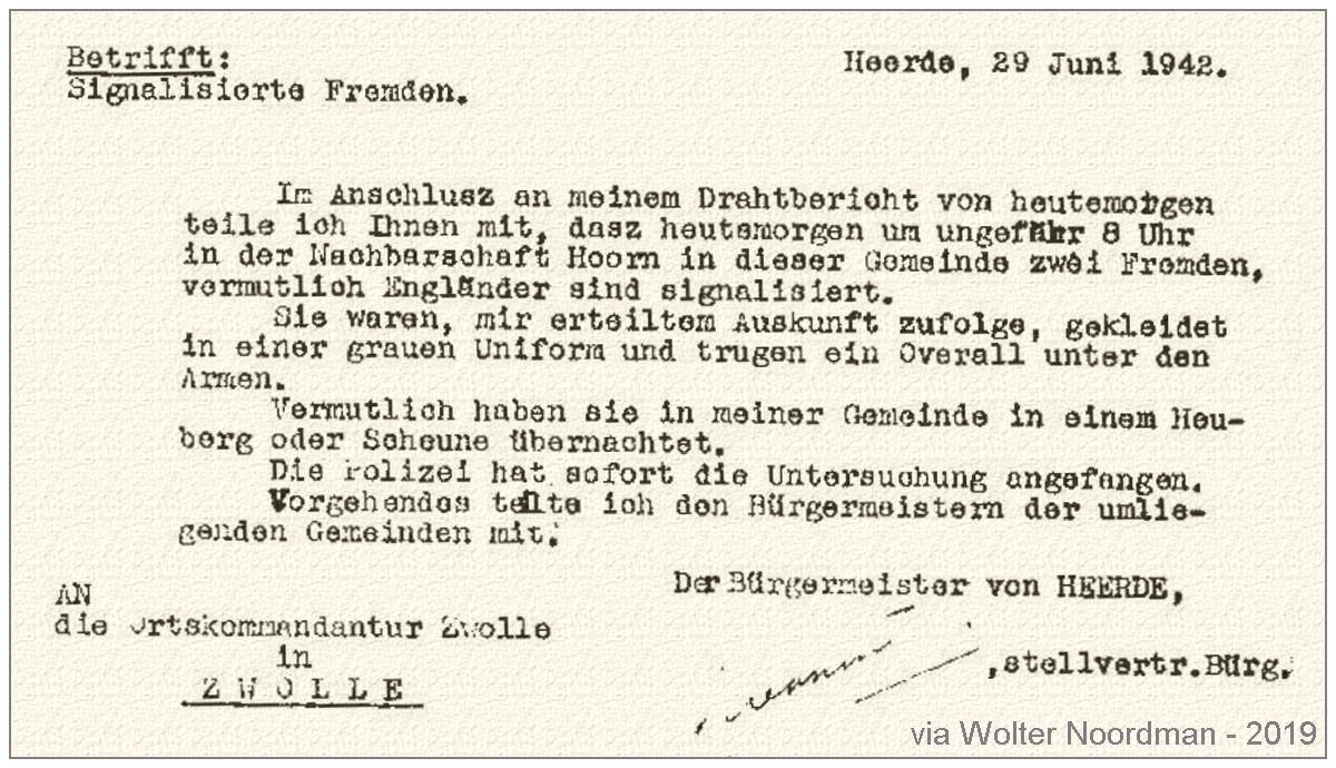 29 Jun 1942 - Police report by the Mayor of Heerde to the Ortscommandantur Zwolle