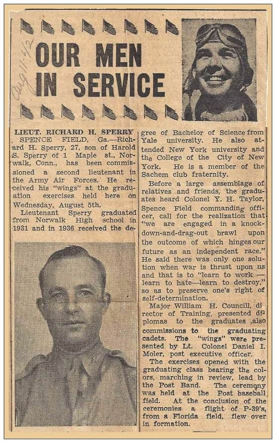 2nd Lt. Richard 'Dick' Harold Sperry - as in newspaper clip