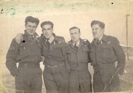 F/Sgt. Anthony 'Tony' D Kall (left) with three crew members