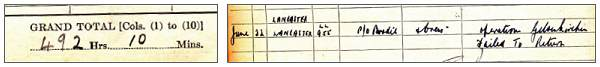 Brodie's Pilot Logbook - Grand Total 492 Hrs. 10 Mins. on 31 May 1944