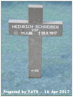 Vzfw. Heinrich Schreiber - Grab A 22 - 1914-1918 Ysselsteyn - proposed by PATS