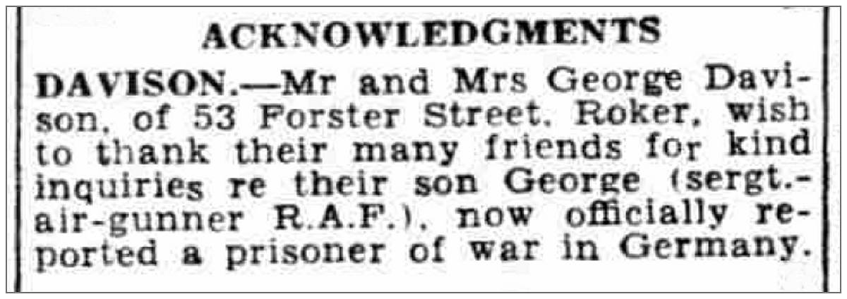 Acknowledgment - Mr. and Mrs. George Davison - 08 Oct 1942 - page 6