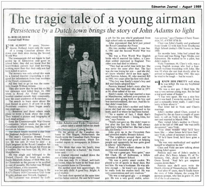 The tragic tale of a young airman - Edmonton Journal - Aug 1989