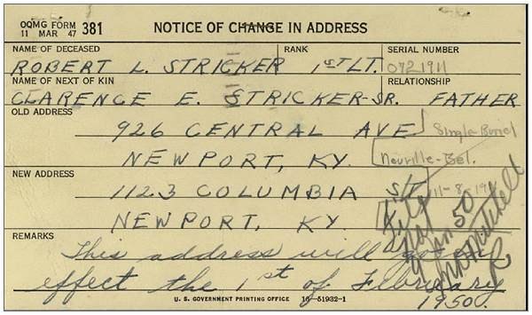 Address change - 01 Feb 1950 - Clarence E. Stricker Sr. (father)