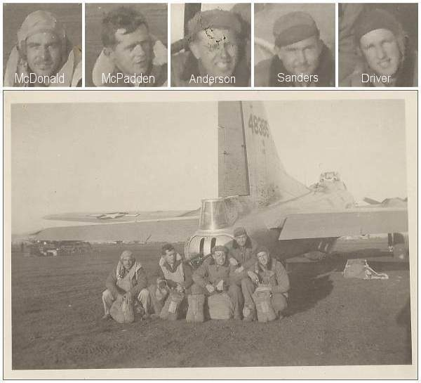 5 Airmen behind Tail #44-8385 - S/Sgt. Charles W. Anderson Jr. - center