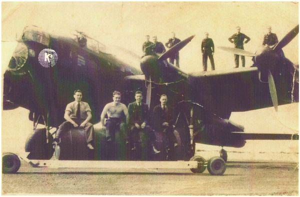 Sgt. George 'Albert' Race - 2nd Right - on wing - likely 1943