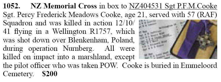 Ad from auction - NZ Memorial Cross - Sgt. Percy Cooke