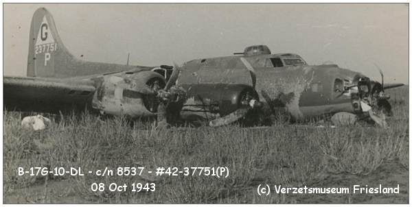 B-17G-10-DL Fortress - c/n 8537 - #42-37751 at crash location