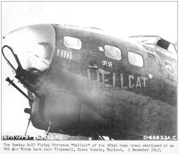 B-17G - 'HELLCAT' - 05 Dec 1943, Ridgewell, Essex Co., England