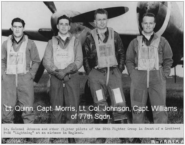 l-r: 1st Lt. Russell G. Quinn, Capt. Morris, Lt. Col. Johnson and Capt. Williams