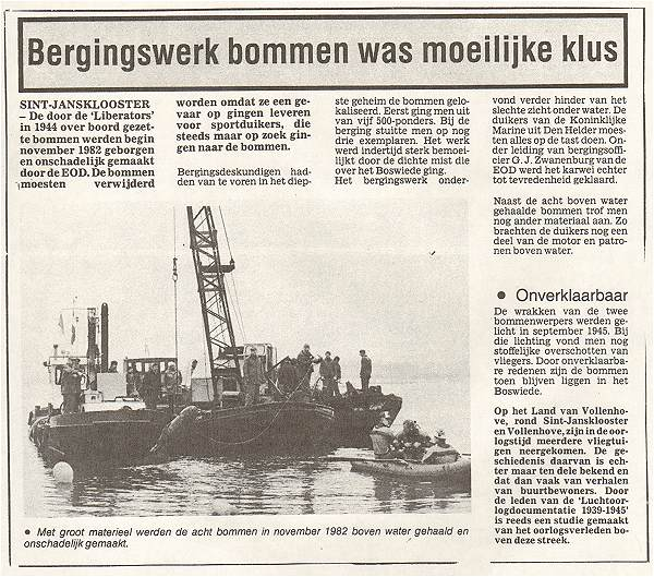 Bomb recovery Nov 1982 - Boswiede - newsclip - Muller collection