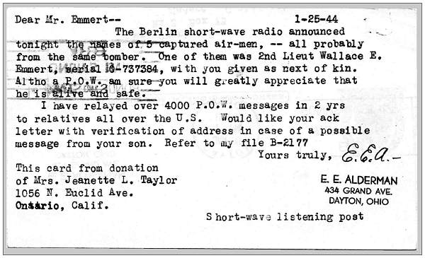 Berlin short-wave radio - 25 Jan 1944 - 2nd Lt. Wallace E. Emmert