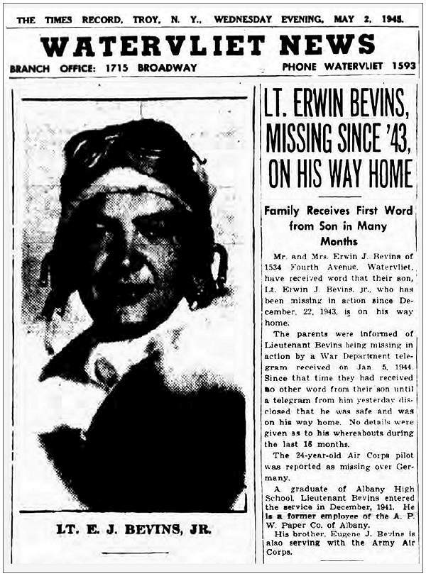 Lt. Erwin Bevins, missing since '43, on his way home - 02 May 1945
