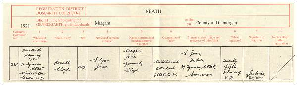 14 Feb 1921 - Ronald Lloyd Jones - copy birth certificate