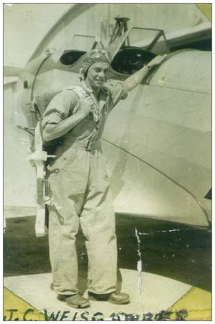 Cadet J. C. Weisgarber - El Reno, OK - 1943 - soloed in Fairchild PT-19 after 8hrs instruction