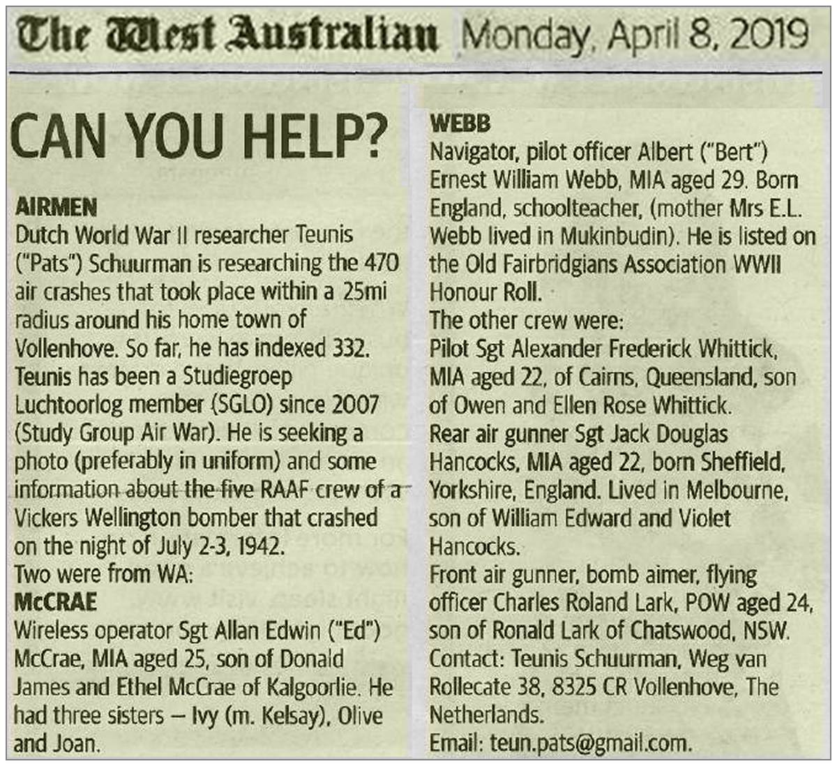 CAN YOU HELP? - The West Australian - Monday, April 8, 2019 - page 63