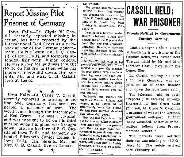 Report Missing Pilot Prisoner of Germany . . . CASSILL HELD; WAR PRISONER