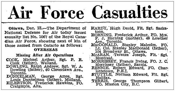 Ottawa, 15 Dec 1944 - RCAF - Casualty list No. 1067 - OVERSEAS - MISSING AFTER AIR OPERATIONS