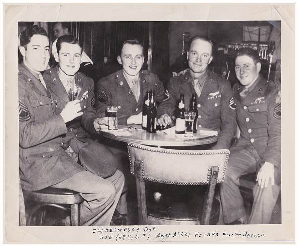 Celebrating Escape from France in 'Jack Dempsey's Bar' on Broadway, NYC Apr 1945