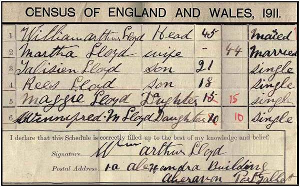 Census of England and Wales, 1911 - Household William Arthur LLOYD