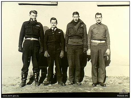 RAAF Prisoners - l-r: Tex McLead, Charles 'Chuck' Lark, unknown, unknown - Oflag XXIB - Szubin, Poland