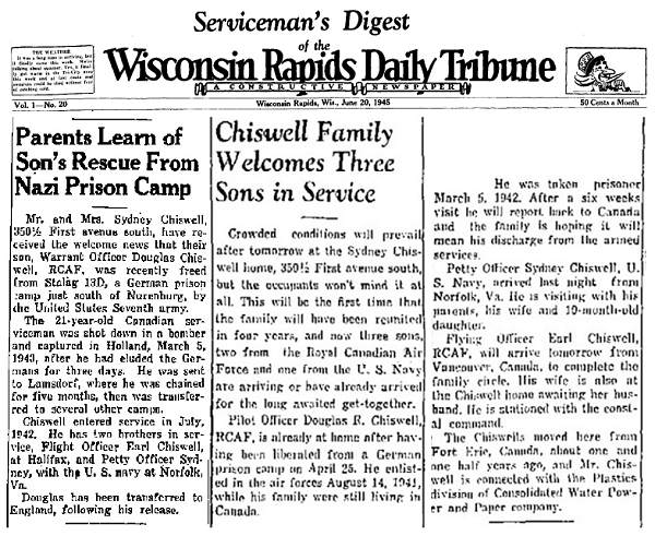 News clips - Chiswell - Wisconsin Rapids Daily Tribune - 1945