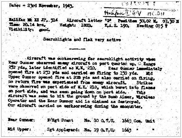 Claim ME210 - 23 Nov 1943 - RG Fl. Sgt. Grant and MUG Sgt. Appleyard