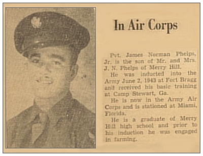 In Air Corps - clip Pvt. James Norman Phelps Jr.