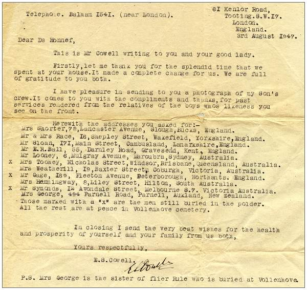 Letter from Mr. Cowell to Rev. J. P. Honnef - 03 Aug 1947