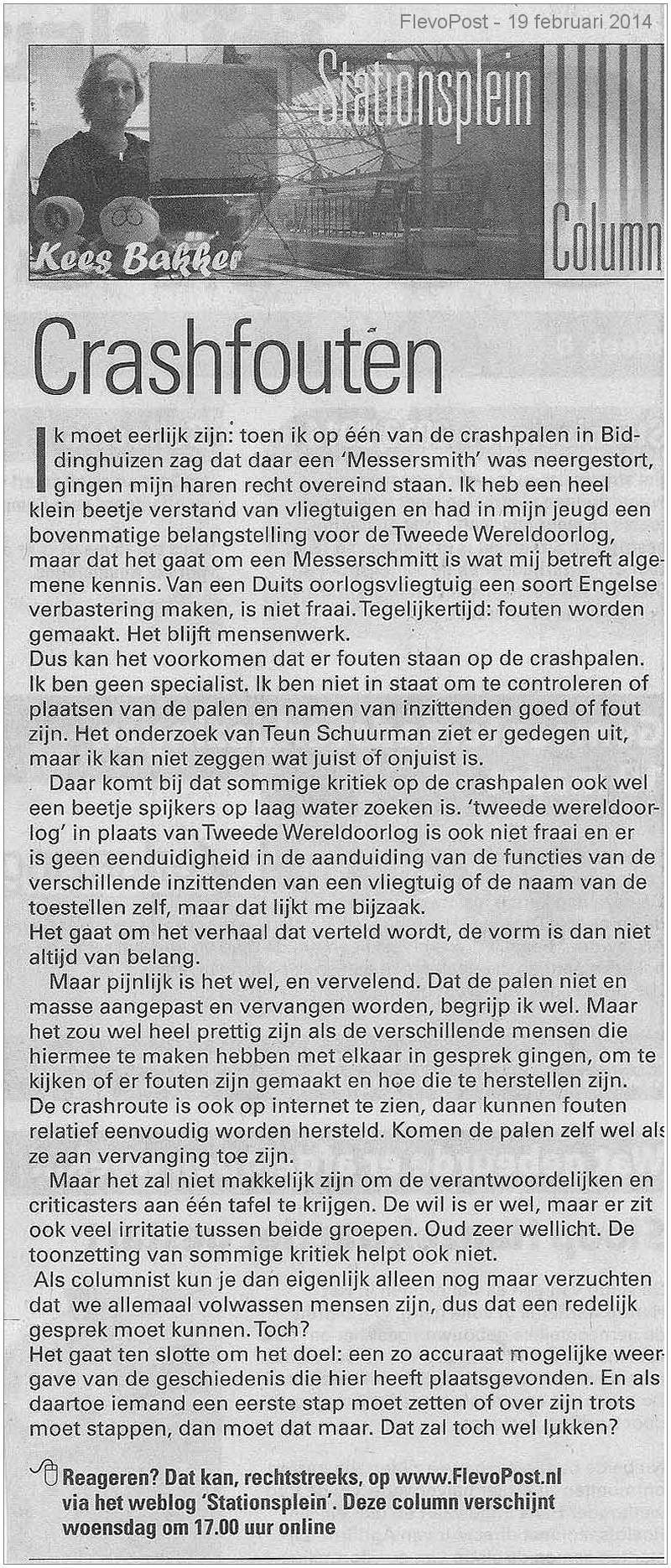 Stationsplein Column - Kees Bakker - Crashpalen - 19 Feb 2014
