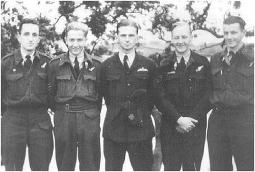 Five crew members ME785 - Fry, Sage, Roche, Whittenbury and Hill - Feb 1944