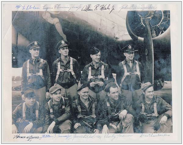 Navigator Weisgarber with his original crew Eblen - England, 1944 - with written names on picture