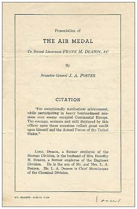 2nd Lt. Frank M. Deason - presentation of THE AIR MEDAL