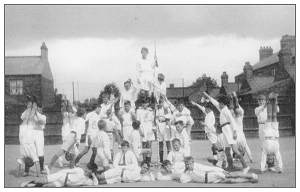Gymnastics display in the playground