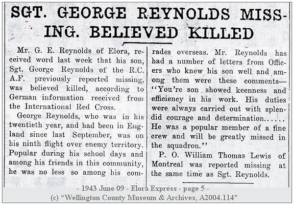 Elora Express - 09 Jun 1943 - page 5 - Sgt. Reynolds - Sgt. Lewis - Missing