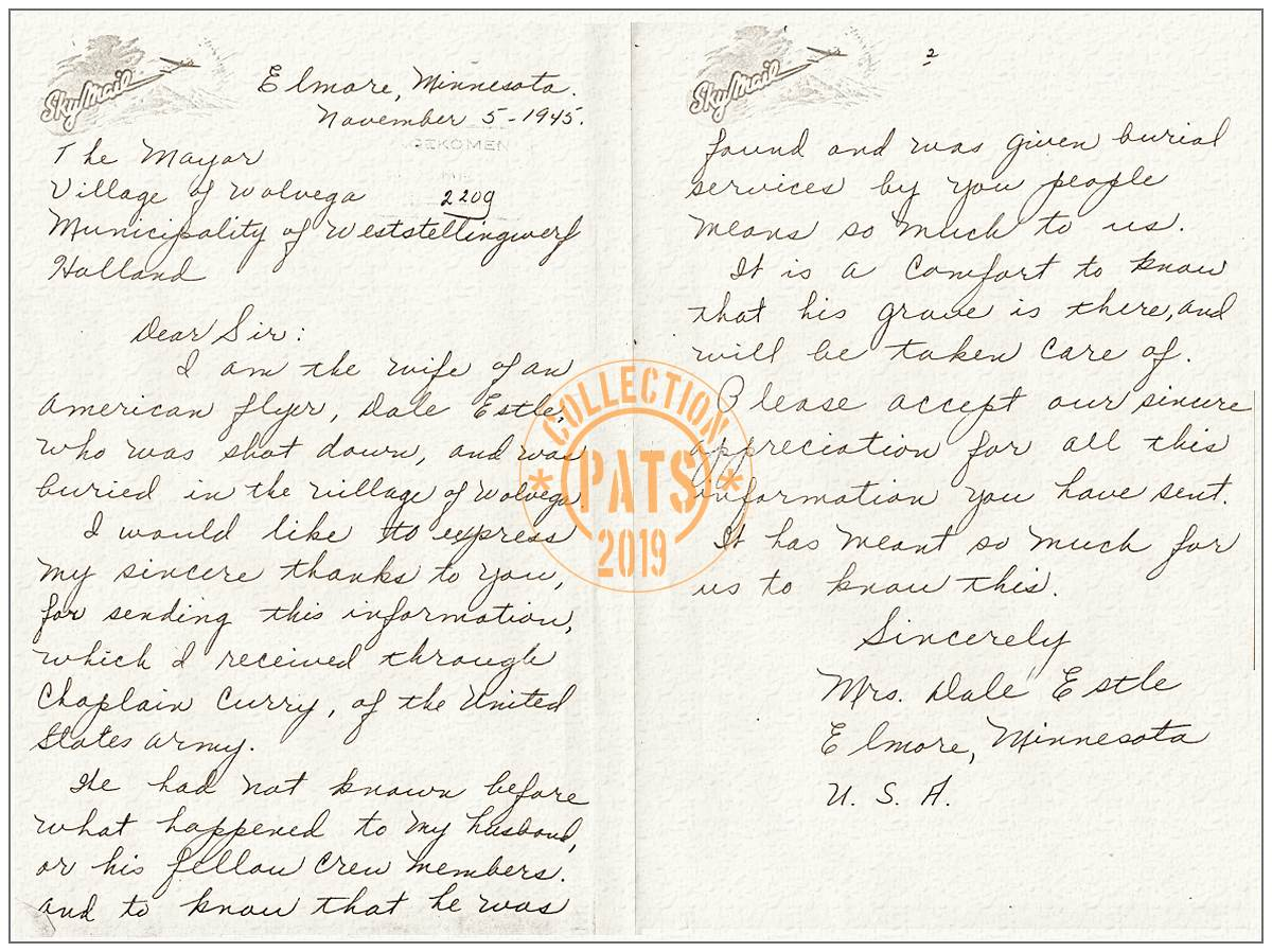 05 Nov 1945 - letter by Lu Metta - Mrs. Dale Estle