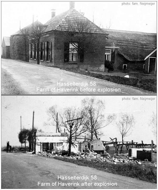Farm of Haverink before and after explosion of 28 Apr 1943