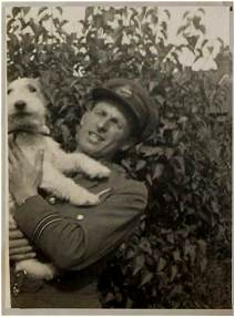 Navigator F/L. George Newsham - DFC - with dog