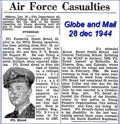 F/O. - Pilot - Frederick Heath Broad - RCAF - Globe and Mail 28 Dec 1944 -