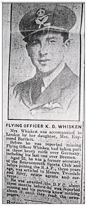 918370 - 61037 - Flying Officer - Pilot - Kenneth Derek Whisken - DFC - newsclip