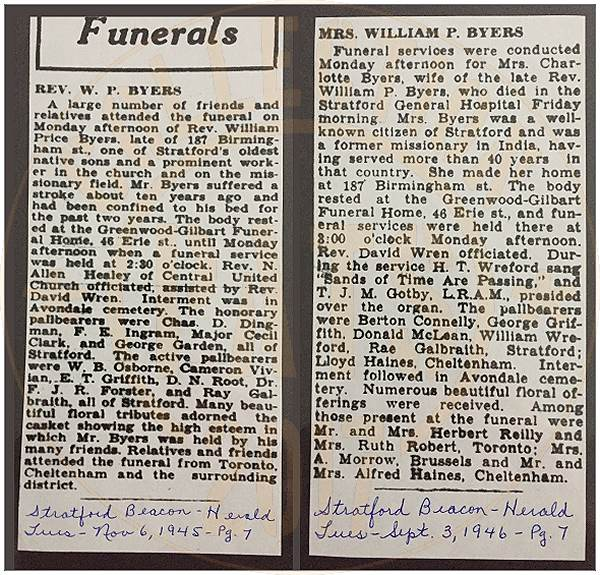 Funerals - Rev. W. P. Byers and Mrs. William P. Byers - clips Stratford Beacon-Herald - 1945 - 1946