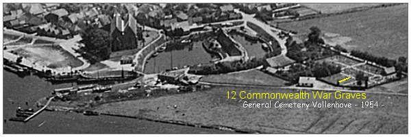Aerial 1954 - General Cemetery of Vollenhove - yellow = 12 Commonwealth War Graves