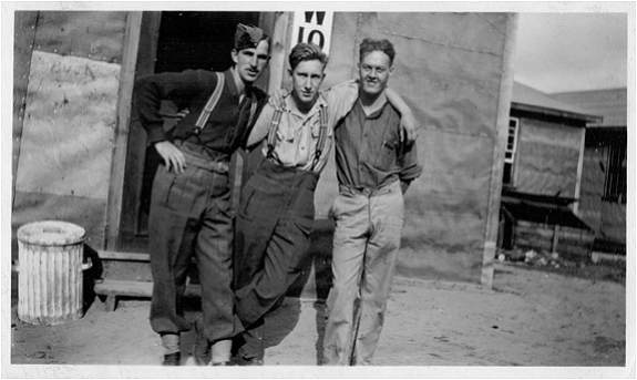1941- Sgt. George Alexander Howitson (center) with two unknown servicemen