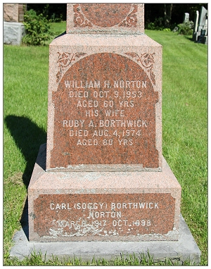 Grave marker - Carl 'Soggy' Borthwick Norton - Bethany United Cemetery - Ramsayville, ON