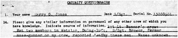 Questionnaire - Harry G. Jones - knowledge S/Sgt. Brewer