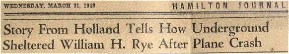 Newspaper clip - William H Rye -