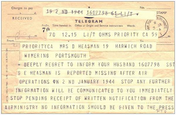 Telegram - Missing - 1607798 F/Sgt. G. E. Heasman