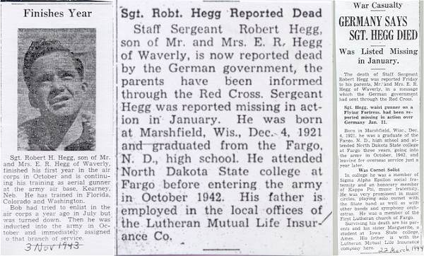 Newspaper clips - Sgt. Robert H. Hegg